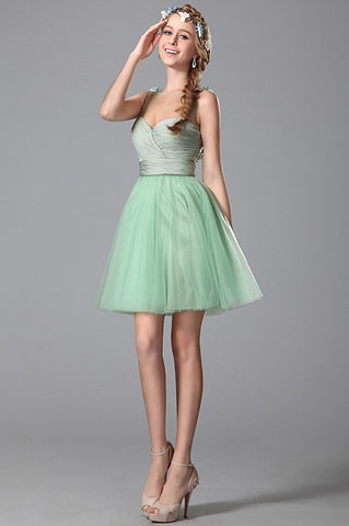 Sleeveless Floral Light Green Homecoming Dress (04150304)