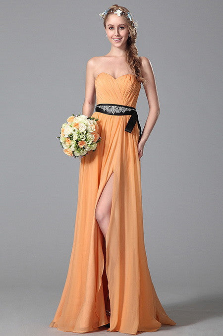 A Line Strapless Sweetheart Beaded Belt Slit Bridesmaid Dress (07150410)