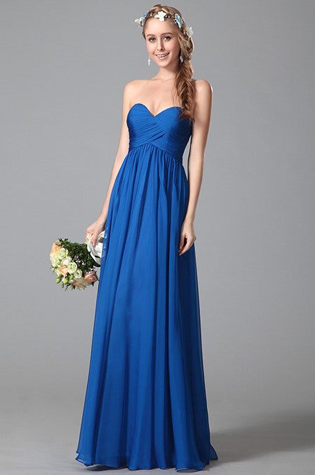 Strapless Sweetheart Blue Bridesmaid Dress (07150605)