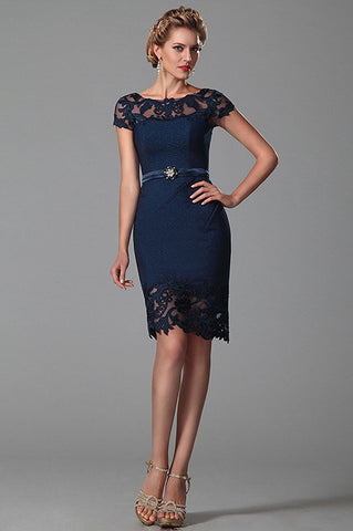 Short Sleeves Dark Blue Mother of the Bride Dress (26150105)