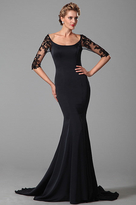 Bateau Neck Dark Blue Mother of the Bride Dress (26151605)