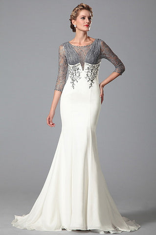 Stylish Lace Sleeves Ruched Bodice Trumpet Mother of the Bride Dress (26151707)