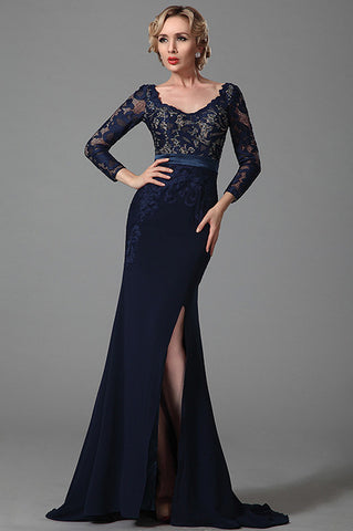 Long Sleeves Slit Mother of the Bride Dress (26152505)