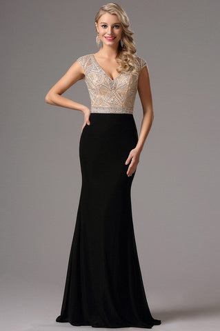 Cap Sleeves Plunging Neck Beaded Formal Dress (36162000)