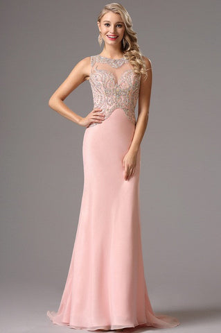 Sleeveless Beaded Bodice Pink Prom Dress Evening Dress (36162201)