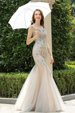 Carlyna Grey Beaded Sleeveless Mermaid Prom Formal Dress (E60808)