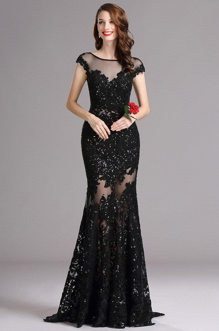 Carlyna Black Illusion Neckline Sequin Lace Appliques Formal Gown (E61000)