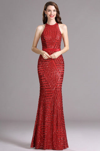 Carlyna Red Figure-flattering Halter Sequins Prom Evening Dress (E61102)