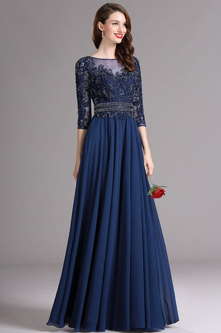 Carlyna Blue Illusion Formal Dress with Sweetheart Neckline (E61805)