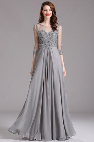Carlyna Elbow Sleeves Beaded Grey Prom Dress (E62008)