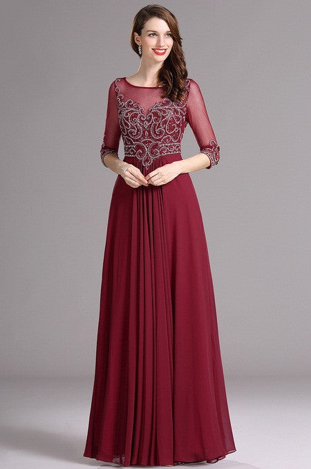 Carlyna Elbow Sleeves Beaded Burgundy Prom Dress (E62017)