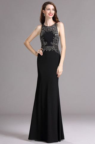 Carlyna Black Formal Dress with Beaded Appliques (E62200)