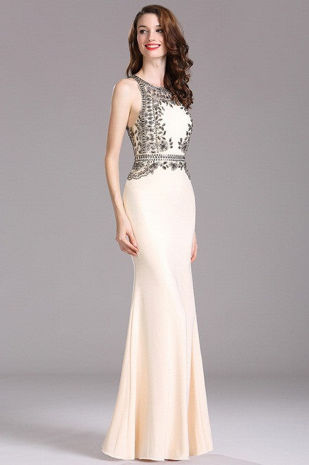 Carlyna Beige Formal Dress with Beaded Appliques (E62214)