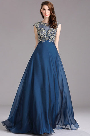 Carlyna Blue Prom Dress with Beaded Bodice (E62305)