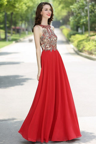 Carlyna Red Sleeveless Beaded Prom Evening Dress (E62502)
