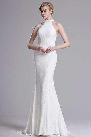 White Lace Halter Mermaid Evening Wedding Dress (X00161307)