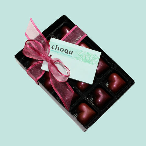 Gift box of dark chocolate and milk chocolate hearts