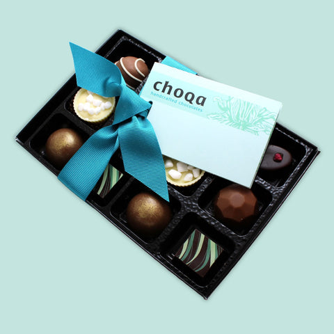 Gourmet dark chocolate, milk chocolate and white chocolate gift box