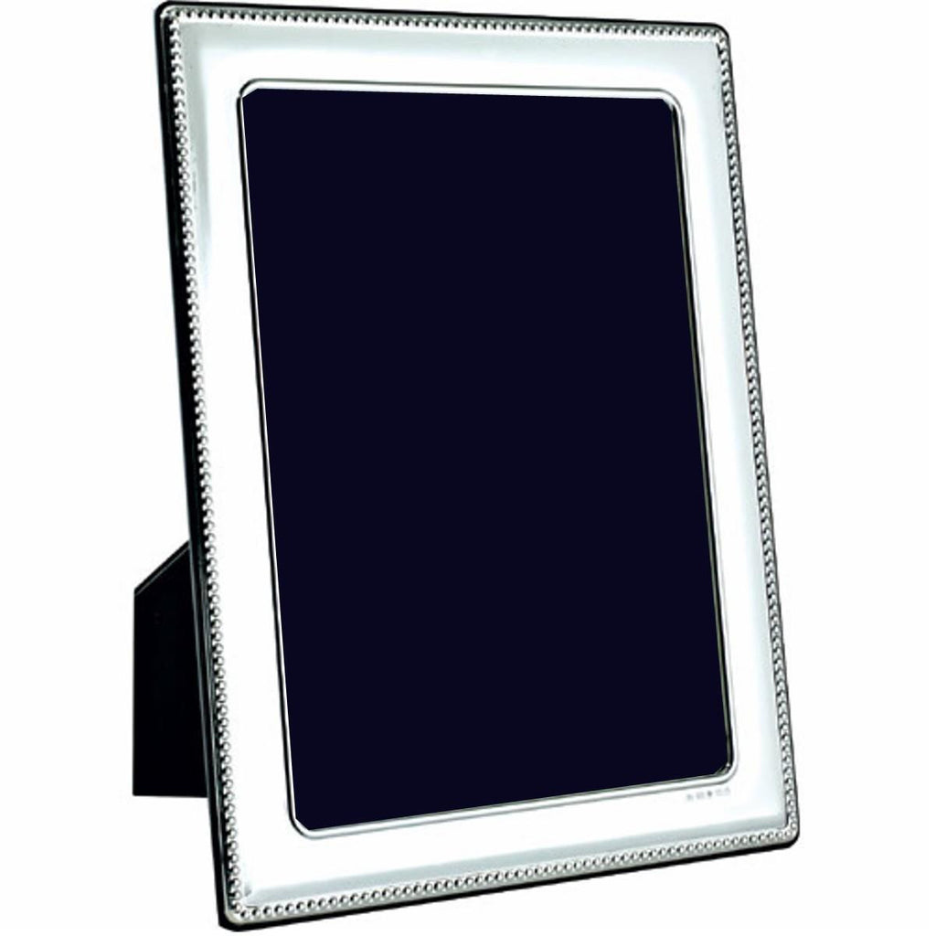 Hallmarked Sterling Silver Photo Frame - Classic Bead
