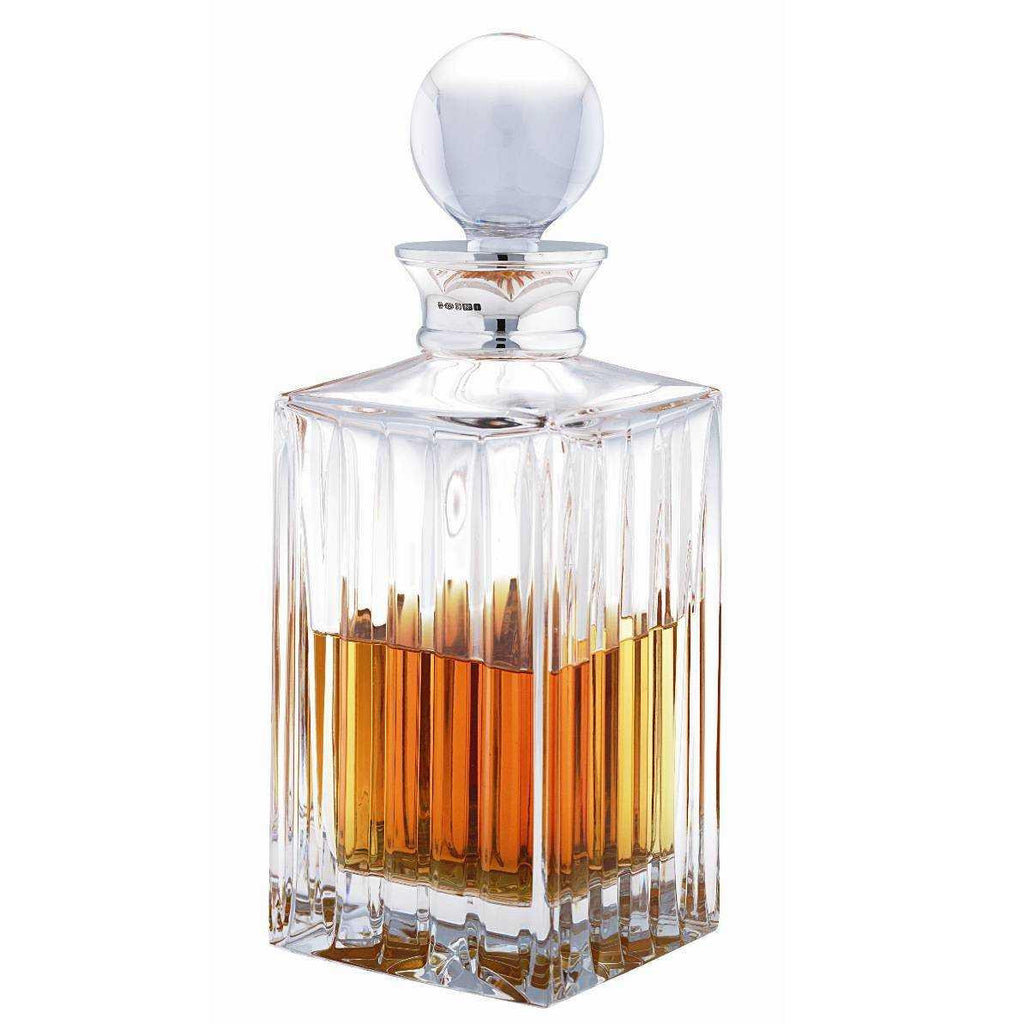 Linear Cut Crystal Square decanter with Silver collar