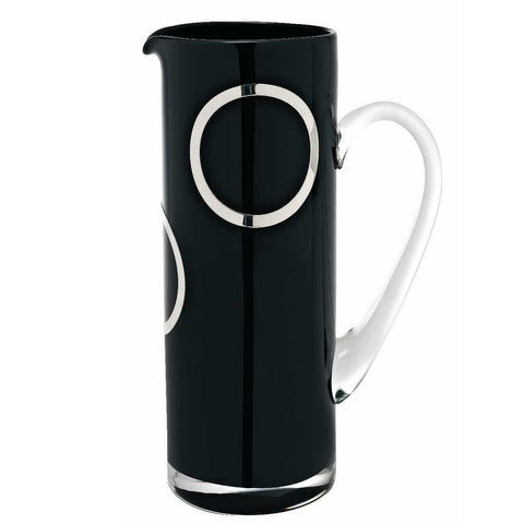 Black Glass Jug with Silver Rings