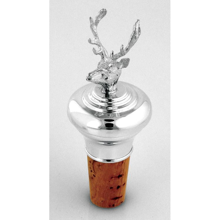 Sterling Silver Bottle Stopper - Stag