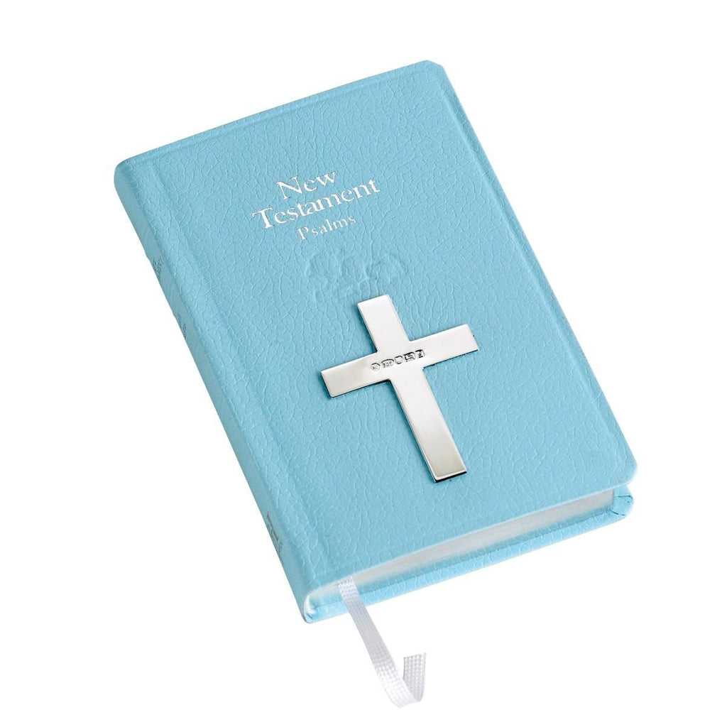 Bible with Sterling Silver Cross - Blue