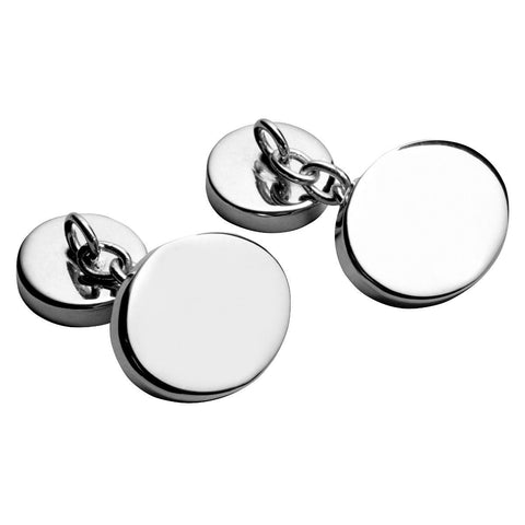 925 Sterling Silver Chain Cufflinks - Plain Oval