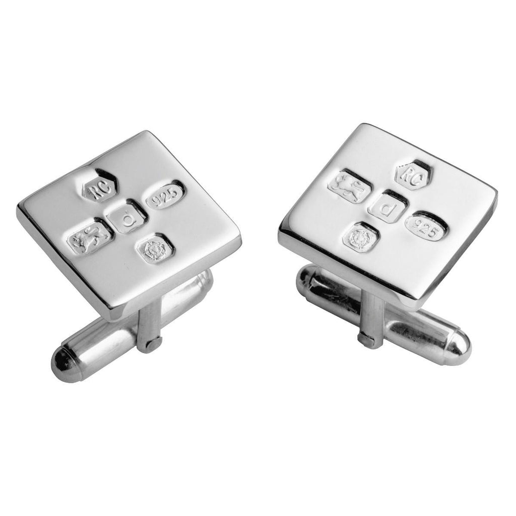 Sterling Silver Post Cufflinks - Hallmarked Square