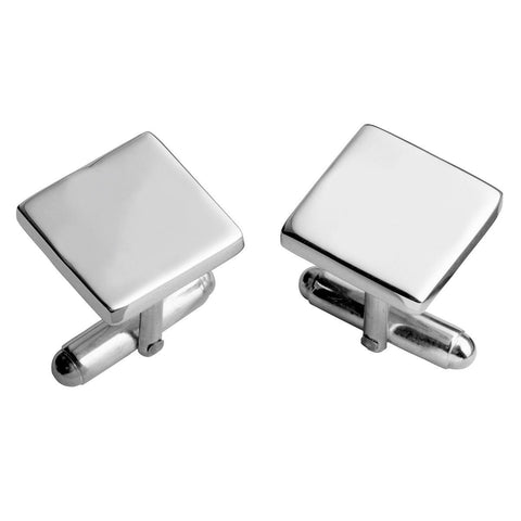 Sterling Silver Post Cufflinks - Plain Square