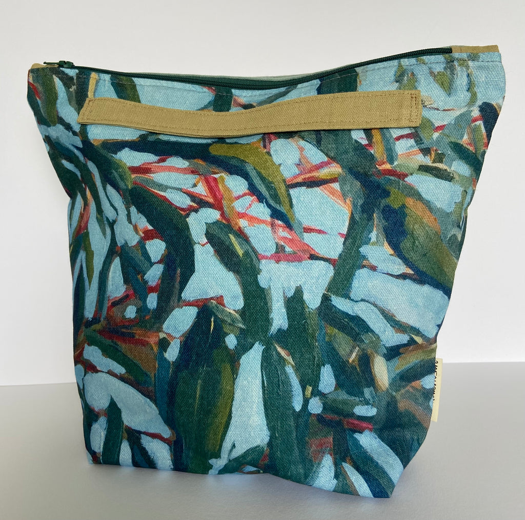 annlemon_art - Project Bag - Red Stalk Gum Leaves 'Grab Pouch'