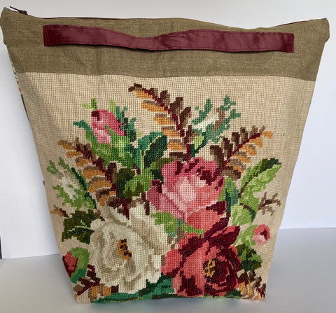 annlemon_art - Project Bag - Large Pink and Beige Roses Tapestry 'Grab Pouch'