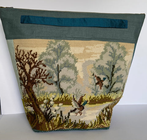 annlemon_art - Project Bag - Large Teal Duck Tapestry 'Grab Pouch'