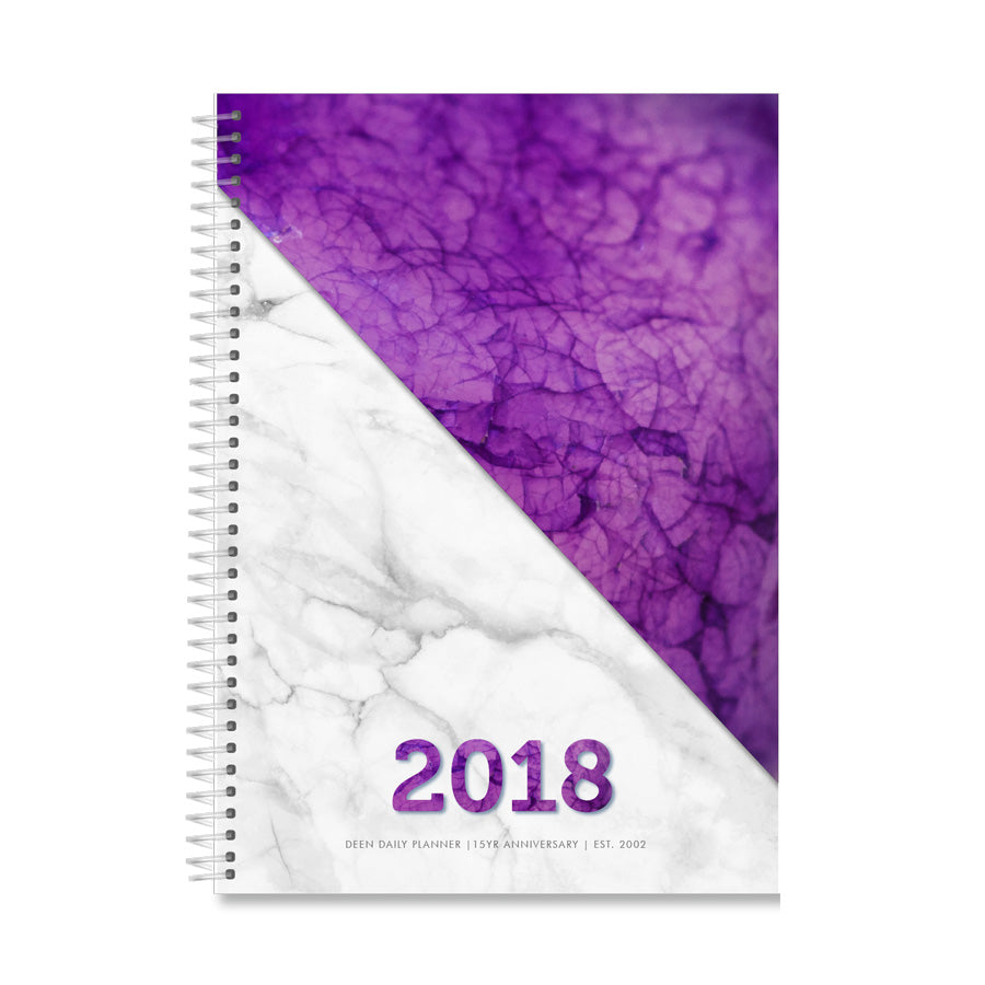 Deen Daily Planner - Marble Violet - Larger format - A4 Size