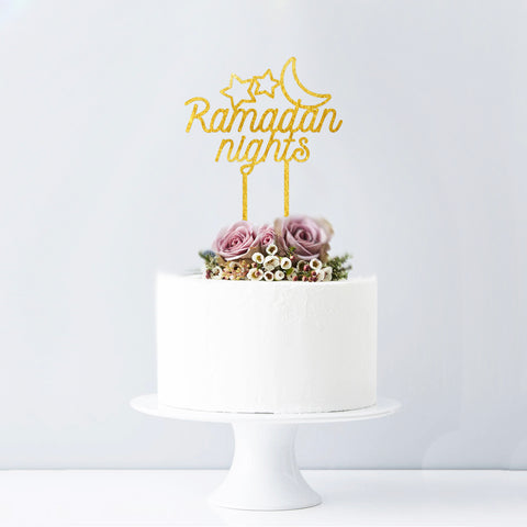 Ramadan Nights - Gold Mirror Cake topper
