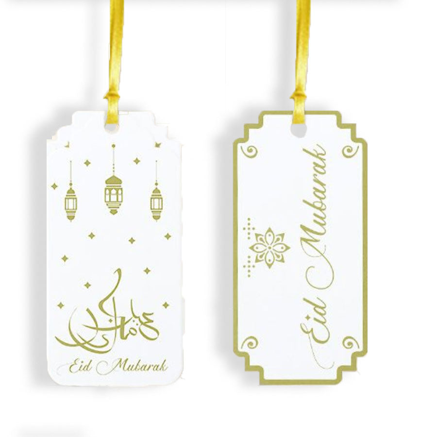 Eid gift tags - card gold print on white
