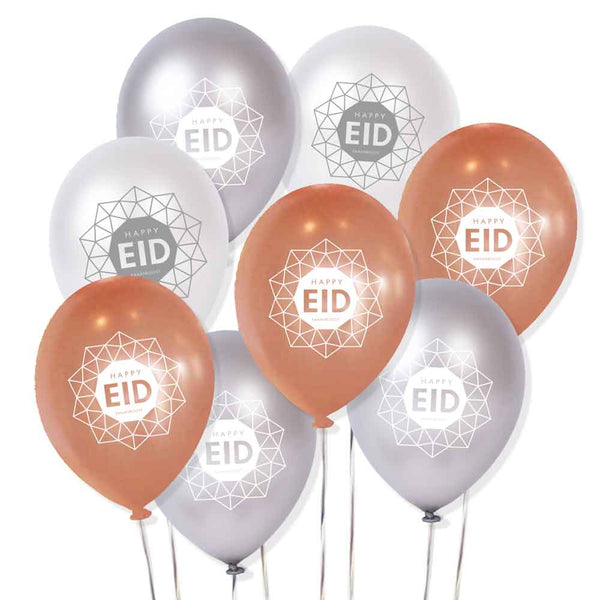 Rose pearl + Silver + Pearl - EID Geometric Balloons - Helium OR Stick use
