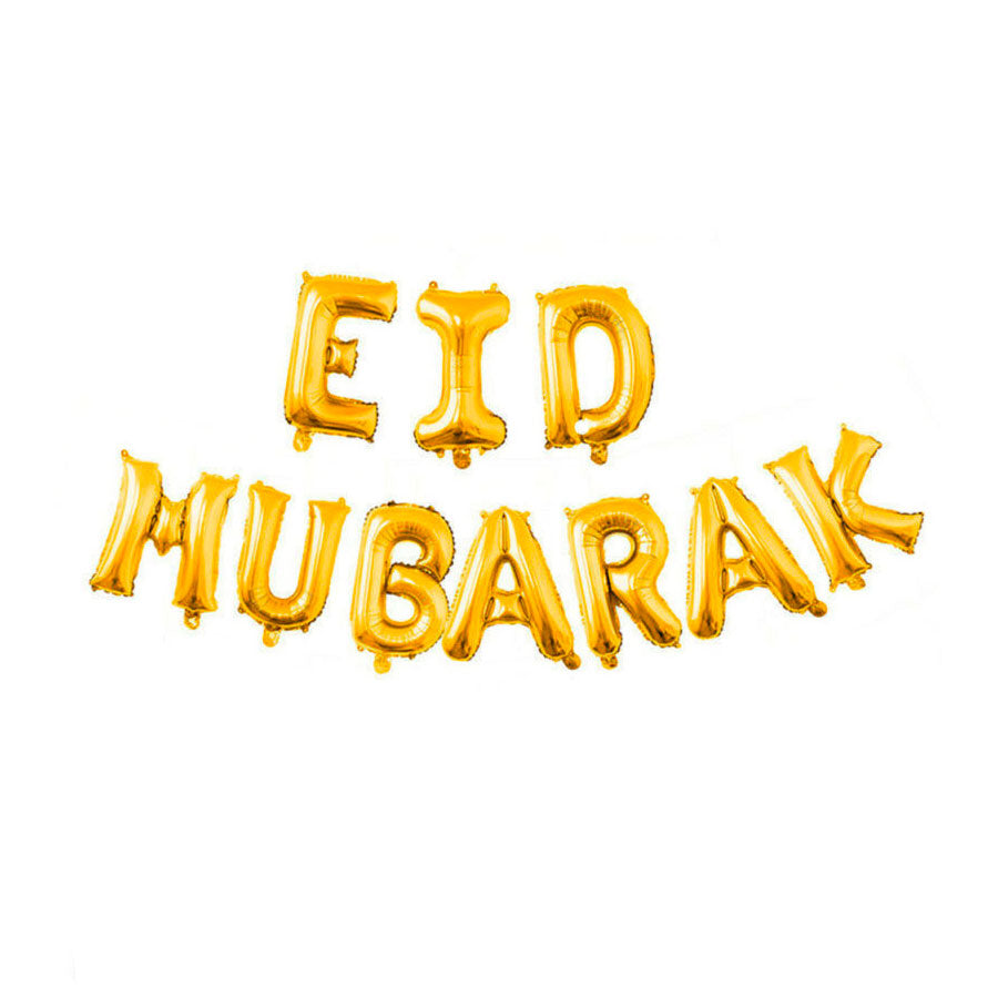 Reusable Eid Mubarak Foil Balloon Bunting - GOLD