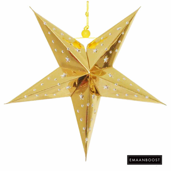 Ramadan Nights - Metallic Gold Star Lantern (Large)