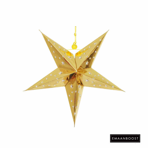 Hajj /EID - Metallic Gold Star Lantern (Small)