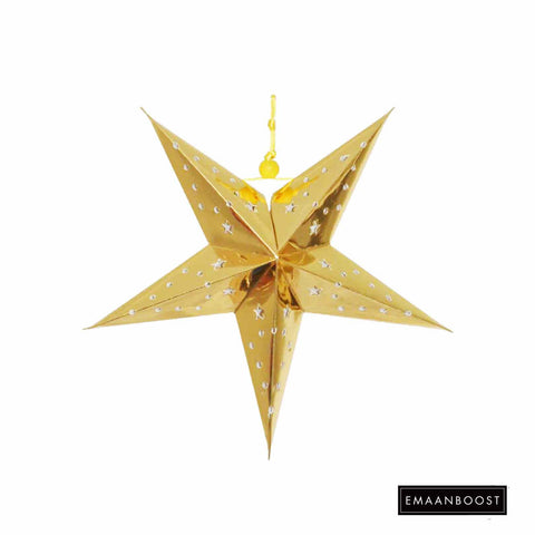Ramadan/Hajj /EID - Metallic Gold Star Lantern (Small)