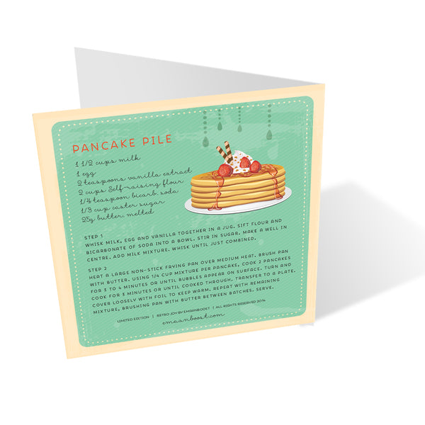 Retro Pancake design + matching recipe + envelope