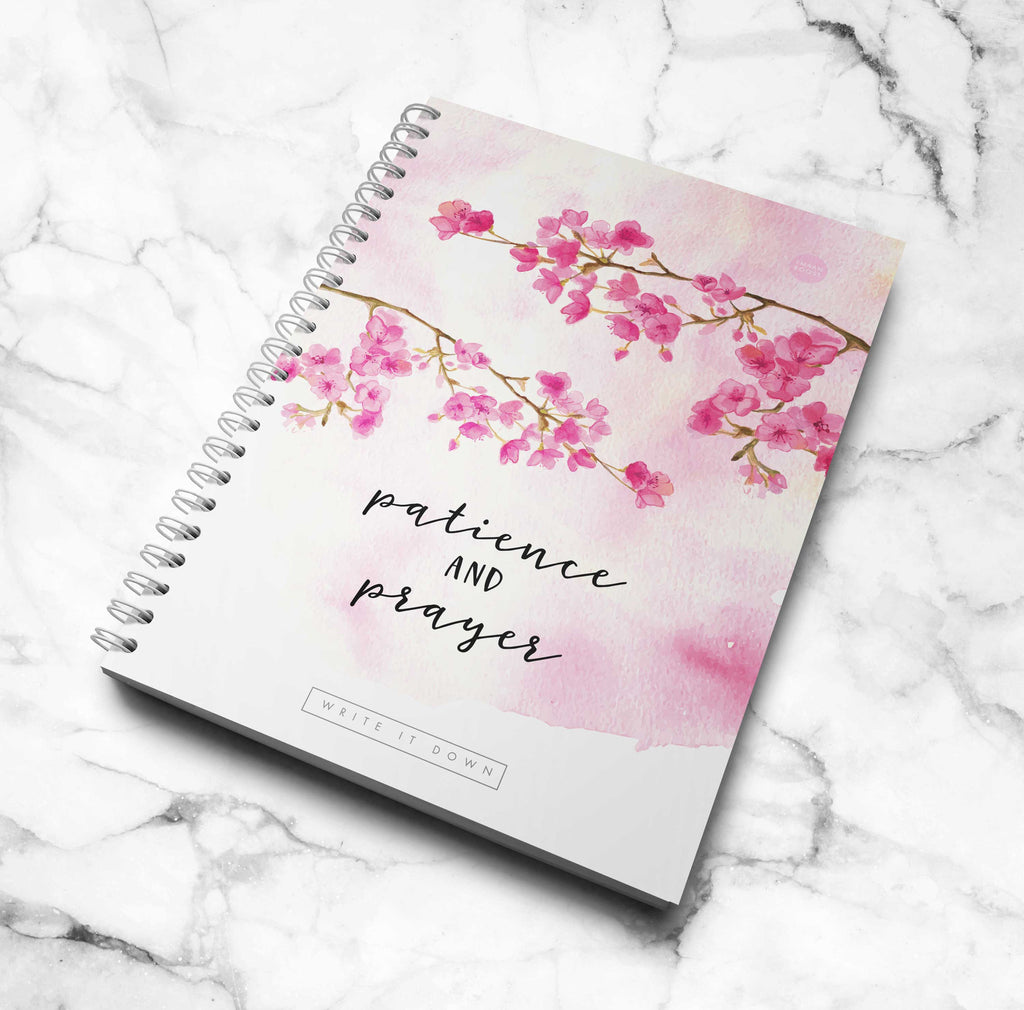 Patience and Prayer - Cherry blossom Notebook (3 in 1)