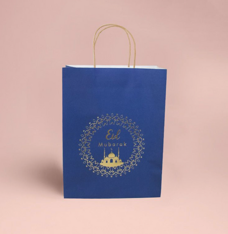 Eid Mubarak - x2 Gold Gift Bag (Blue, Gold kraft eco bag)
