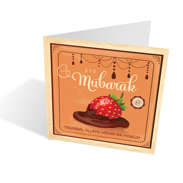 Sweet Retro Eid Card - Strawberry Chocolate Dip + matching recipe
