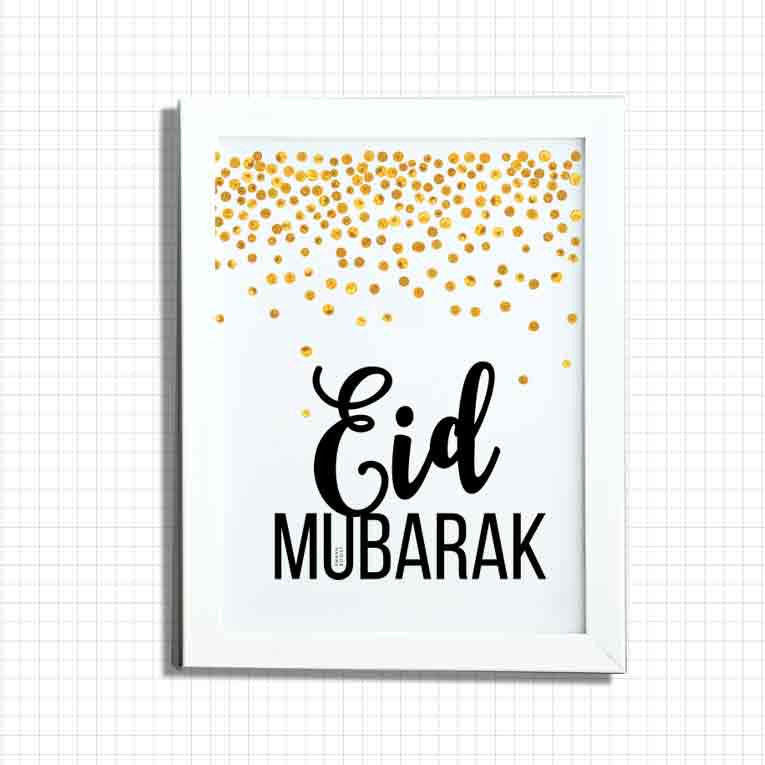 Eid Print, Gold Paint Confetti Collection - white