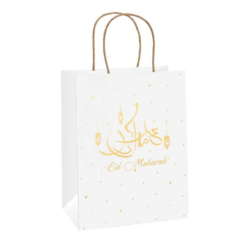 Eid Mubarak - x2 Gold Gift Bag (white kraft eco bag)