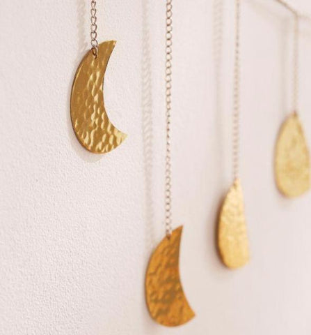 Gold metal Moon cycles garland