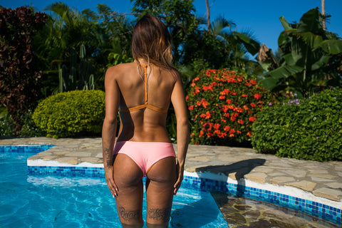 Volleyball Bikini Bottoms - Peach & Old Gold