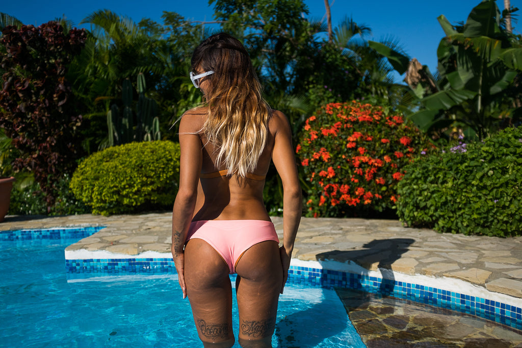 Boyshort Bikini Bottom - Peach & Old Gold